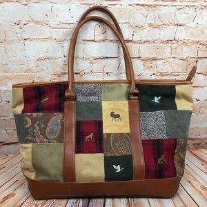 Vintage LL Bean Patchwork Plaid Tote Briefcase Bag